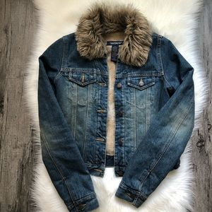 Abercrombie & Fitch • Faux Fur Denim Jacket